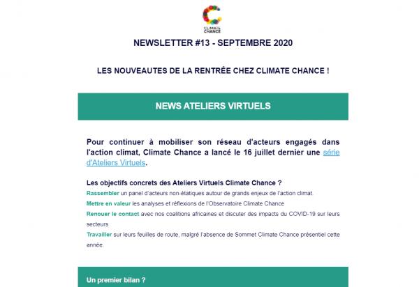 Newsletter de Septembre 2020